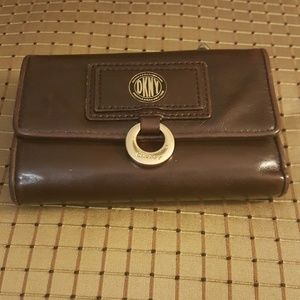 DKNY Brown Fold Over Leather Wallet